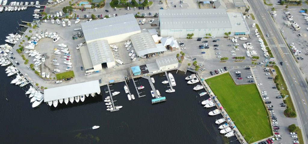 An aerial view of Treasure Island Marina